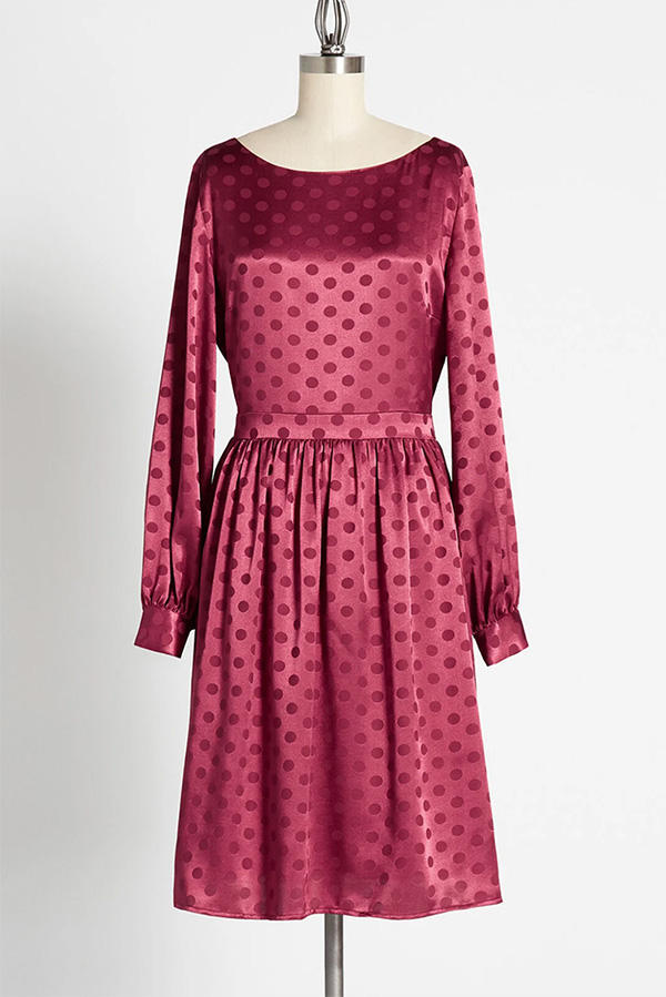 Soft red dress with polka dots from Modclloth.